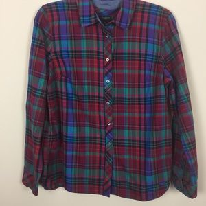 Women's Sz PL Talbots Plaid Button Down Shirt 👚
